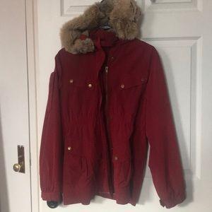 Ali Ro anorak style coat with faux fur hood